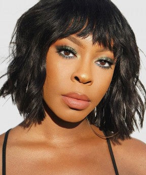 Natural Wavy 13x6 Bob Lace Front Wigs With Bang 250%