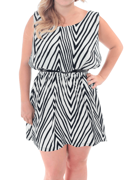Plus Size Darling Striped Blouson Skater Dress