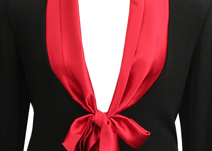 Elegant Silky Collar Red Top