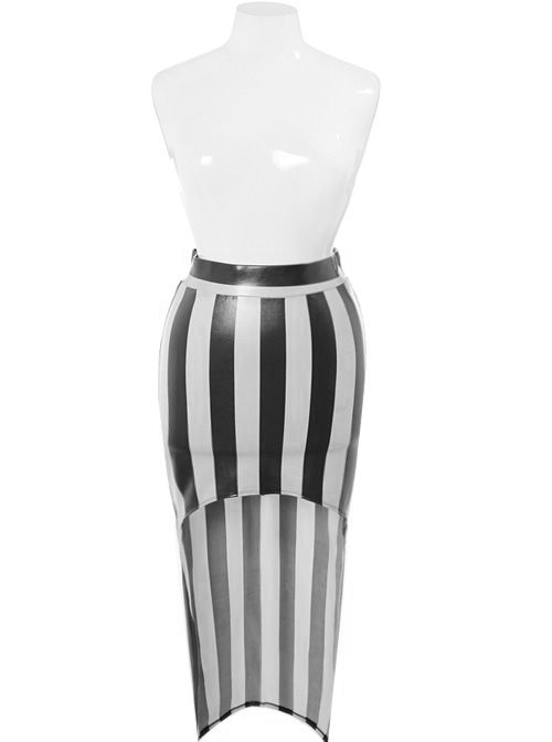Plus Size Sexy Diva Metallic White Dip Hem Skirt