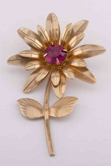 Red Stone Gold Flower Brooch
