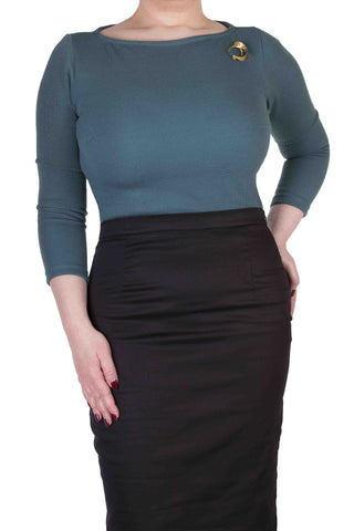 Olive 3/4 Sleeve Top North Sea
