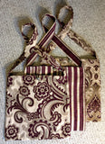 Travel Bag - Burgundy and Cream paisley floral brocade