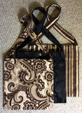 Travel Bag - Brown and Cream paisley floral brocade