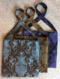 Travel Bag - Light Blue and Brown brocade