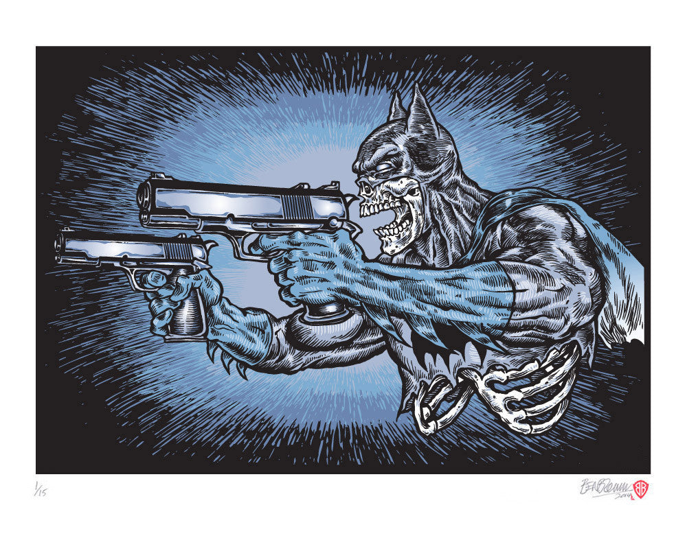 'Batman with guns' print