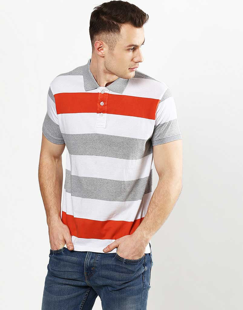 Striped Polo Orange & Grey.