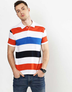 Striped Polo Orange & Blue.