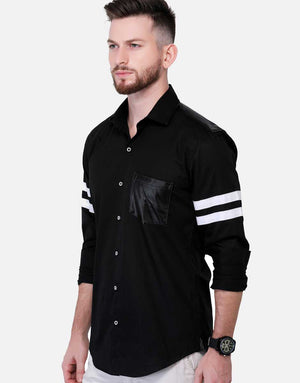 Faux Leather Shirt With Detailing