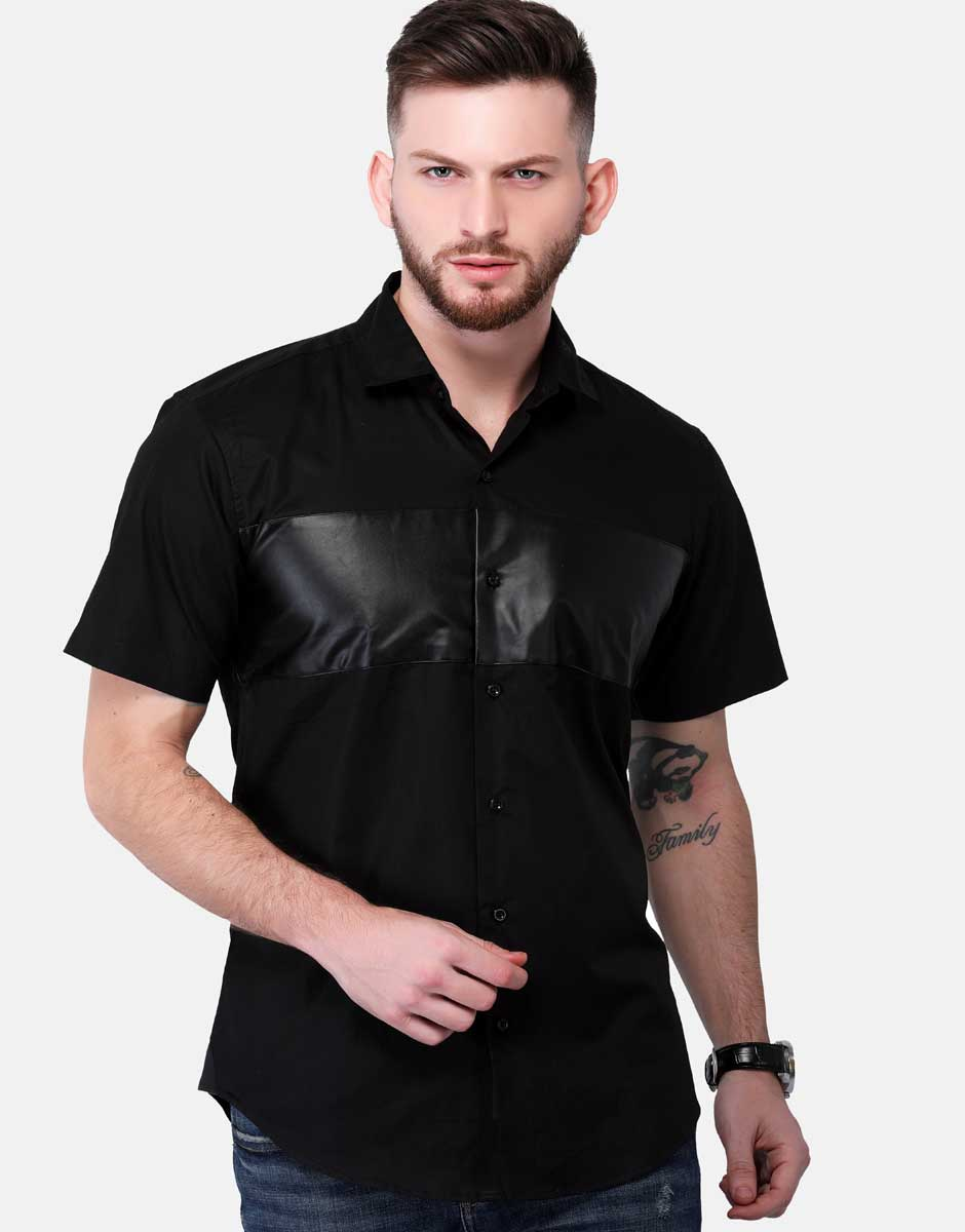 Faux Leather PANEL SHIRT