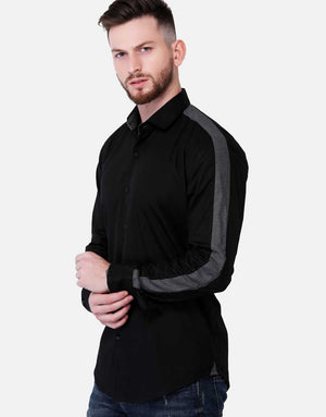 Black Shirt With Contrast Gray Panel