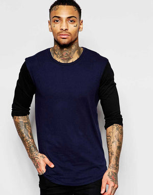 Long Sleeve Navy Tshirt With Black Contrast Sleeves