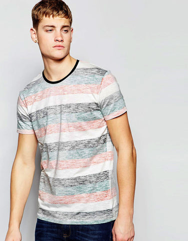 Solid Crew Neck T-Shirt with Stripes