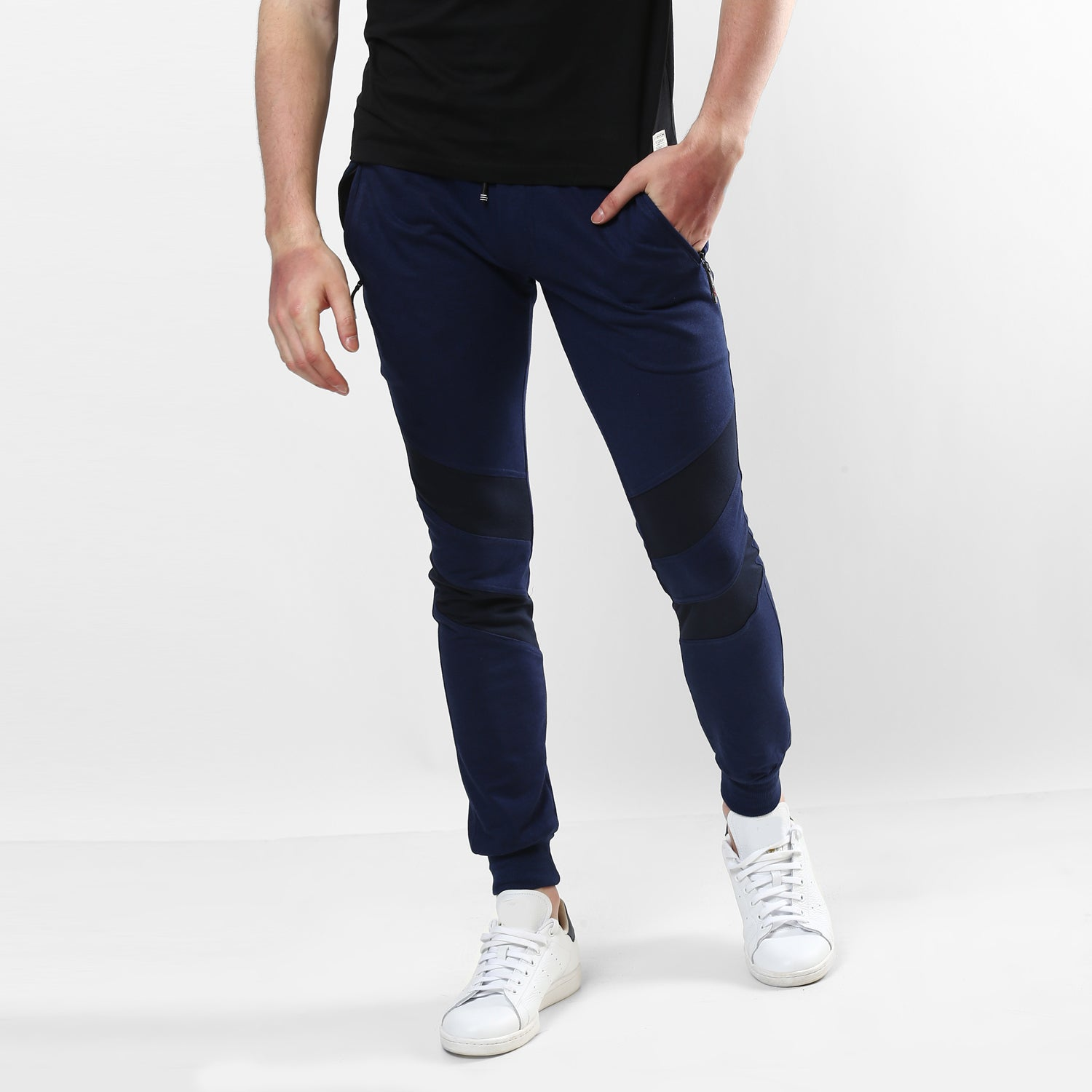 Navy Blue Double Stripe Patch Jogger