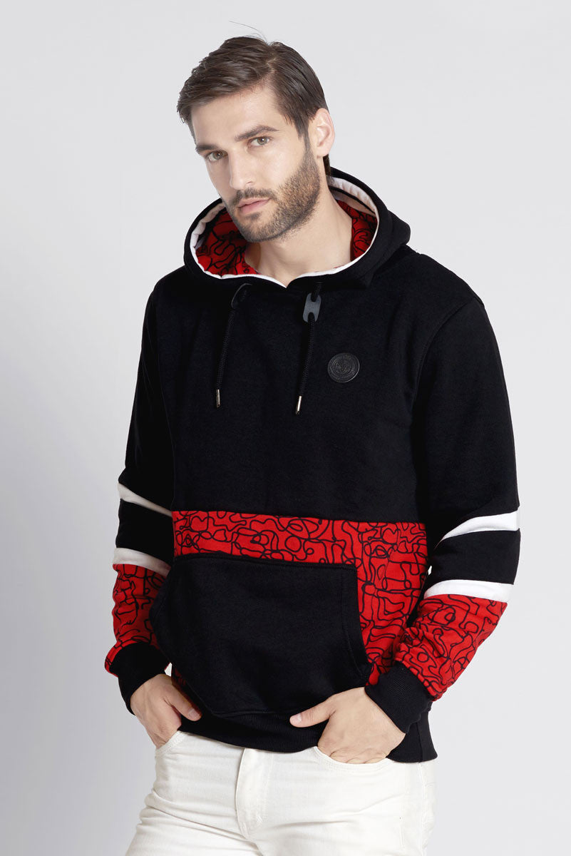 Red Pull Over Hoodie With All Over Geometric Prints