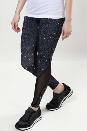Floral Mesh Panel DRY FIT Leggings