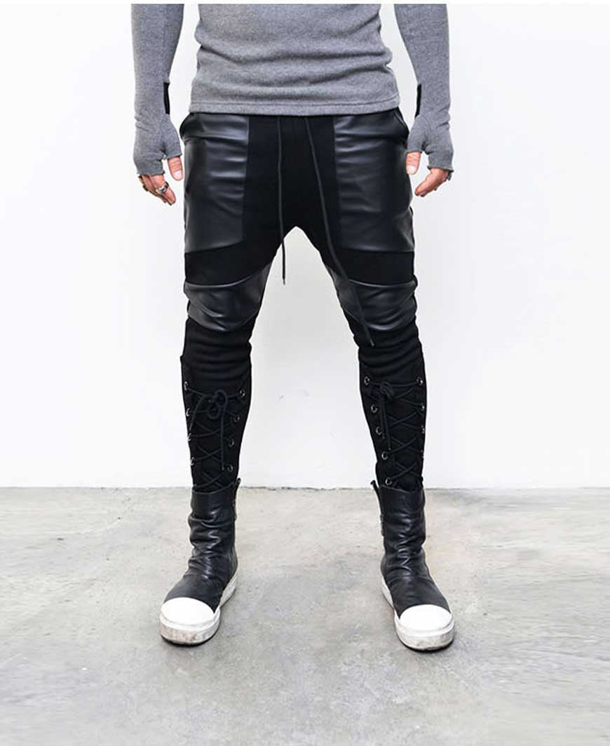 Eyelet Legs Leather Patch Slim Sweatpants