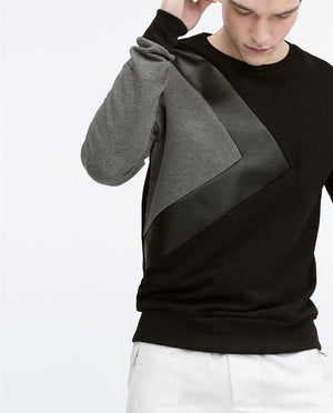 Faux Leather Fleece Sweatshirt
