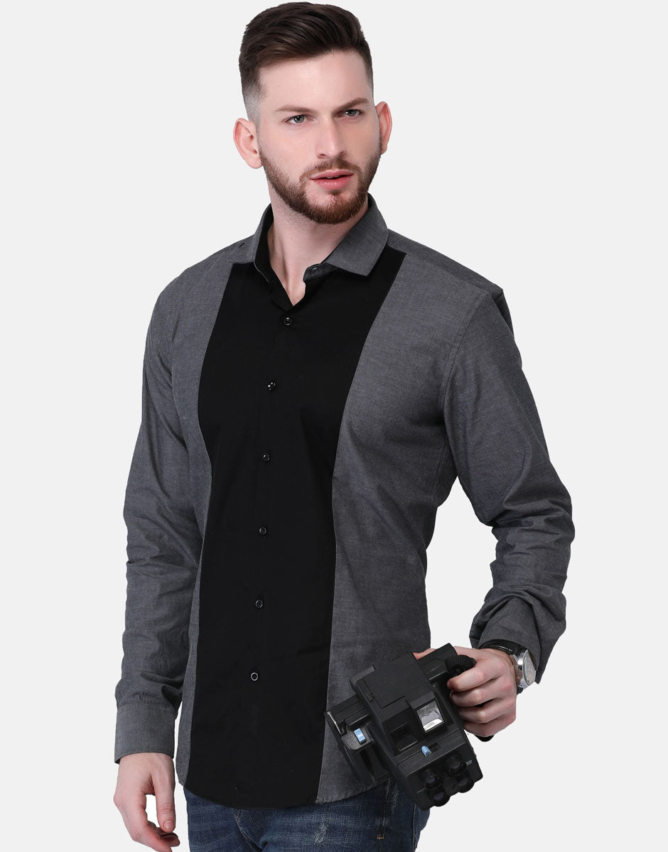 Black Contrast Shirt With Gray Chambray