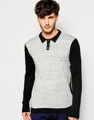 Front Neppy Gray With Contrast Black Polo Full Sleeve