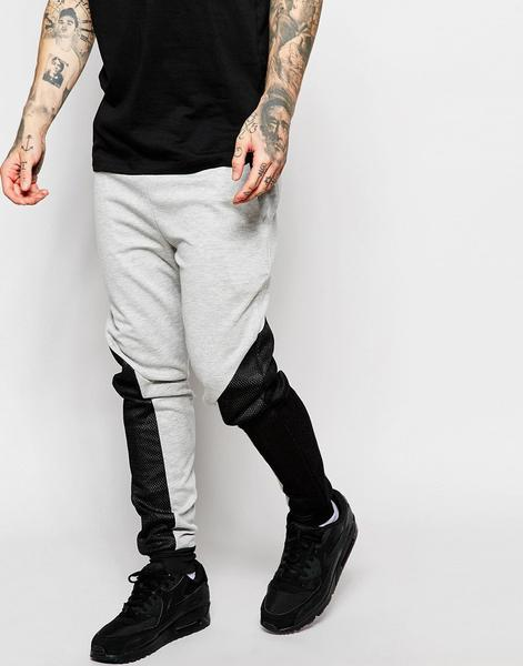 Damage Joggers With Panelling(net)