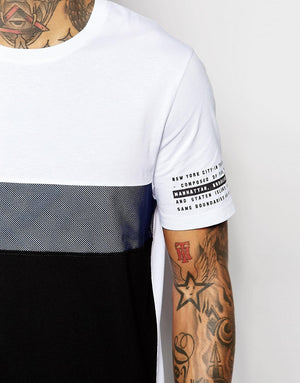 Longline T-Shirt With Mesh Cut And Sew