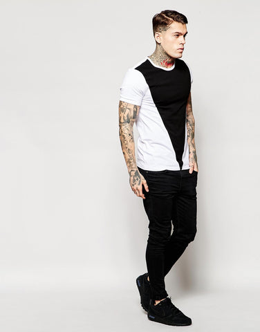 Muscle T-Shirt With Cut And Sew Triangle Panel.
