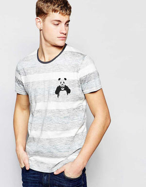Pocket Print Panda Gray Solid Crew Neck T-Shirt with Stripes