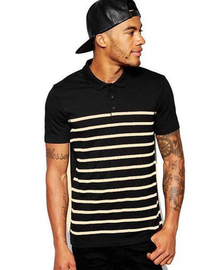 Black & Yellow Striped Polo.