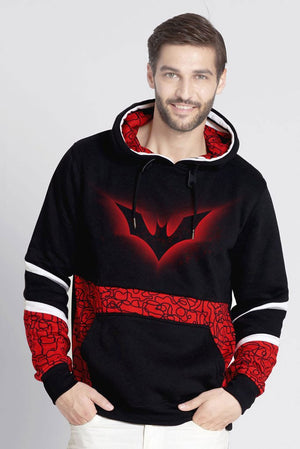Batman Pull Over Hoodie With All Over Geometric Prints
