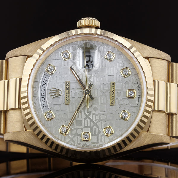 Rolex Day-Date 18238 - 1996 - Rolex Factory Anniversary Diamond Dial - Box And Papers