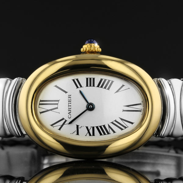 Cartier Baignoire Ladies 18K Yellow Gold And Steel Watch 2575