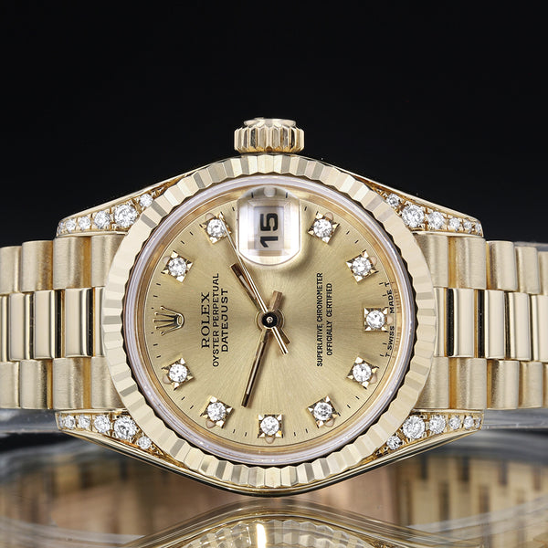 Ladies Rolex 69238 - Datejust - 1993 - Rolex Factory Diamond Dial And Shoulders - Box And Papers