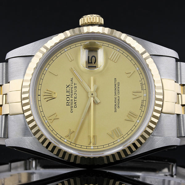Rolex Datejust 16233 - 1989 - Champagne Roman Numeral Dial - Box And Papers