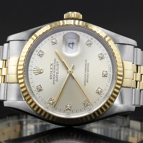 Rolex Datejust 16233 - 1992 - Grey Rolex Factory Fitted Diamond Dot Dial