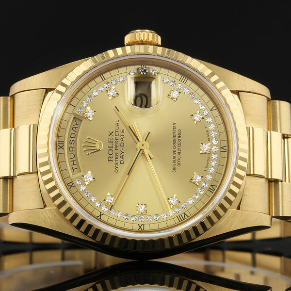 Rare Rolex Day-Date 18238 - 1997 - Rolex Factory MYRIAD Diamond Dial - Box And Papers