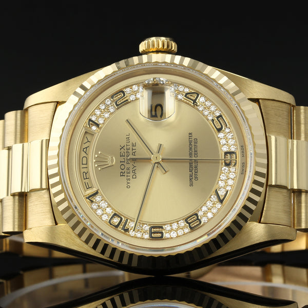 RARE Rolex Day-Date 18238 - 1997 - Rolex Factory MYRIAD Arabic Diamond Dial - Box And Papers
