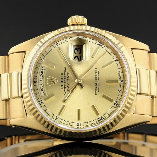 Rolex Day-Date  - 18038 - year 1995 -  18ct Gold - Champagne Baton Dial