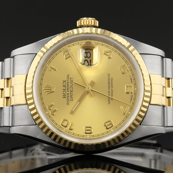 Rolex Datejust  - 16233 - 1995 - Champagne Arabic Dial - Box And Papers