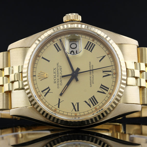 Rolex Datejust 1601 - Rare Buckley Dial - 1979 -  18K gold - Box And Papers