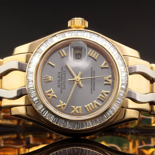 Ladies Rolex 18K Gold Pearlmaster - 80328 -  With 2 Carat VS Afterset Diamond Bezel - 34mm - 2018 - Box And Papers