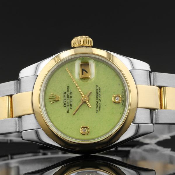 Ladies Rolex Datejust 79163 - 2001  - Very RARE Green Stone Diamond Dial - Box And Papers