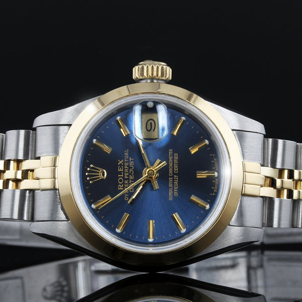 Rolex Datejust  -  69163 - 26mm - 1992 - Blue Baton Dial - Box And Papers