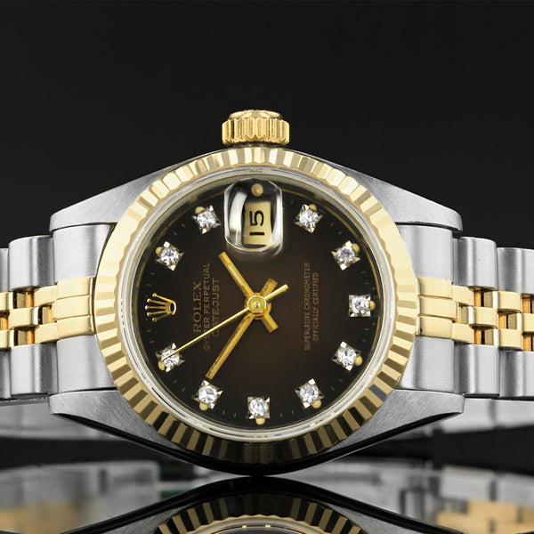 Ladies Rolex Datejust - 69173 - RARE Brown Sunburst Rolex Diamond Factory Fitted Diamond Dot Dial  -  Dated 1990