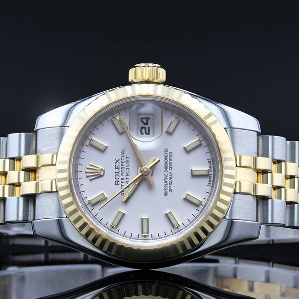 Ladies Rolex Datejust 26mm 179173 - 2011 - White Baton Dial - Concealed Clasp