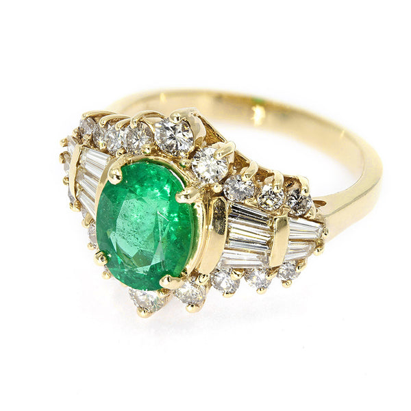 Emerald And Diamond Fancy Cluster Ring