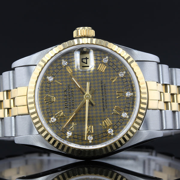 Rolex Datejust 68273 - 1989 - Midsize - Rare Tridor solid gold diamond dot dial