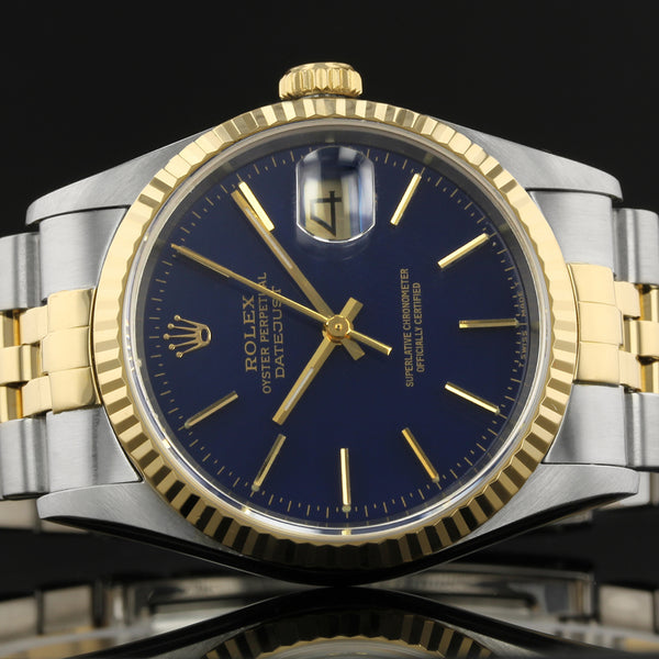 Rolex Datejust 16233 - 1997 -  Dark Blue Baton Dial - Box And Papers