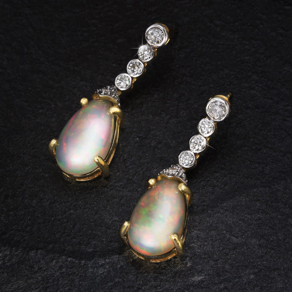 Long Opal And Diamond Drop Earrings Set In 18CT Gold