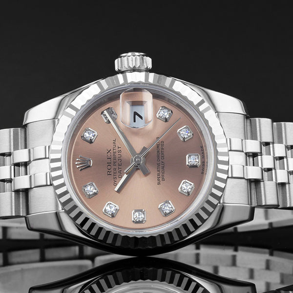 Ladies Rolex Datejust 179174 - 2006  - PINK ROLEX FACTORY DIAMOND DOT DIAL - Concealed clasp
